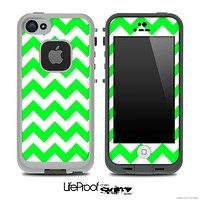 Lime Green and White V2 Chevron Pattern Skin for the iPhone 5 or 4/4s LifeProof Case