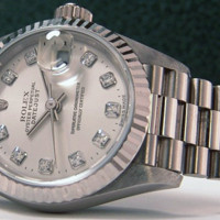 ROLEX - DIAMOND Ladies ROLEX 18kt White Gold President - SANT BLANC