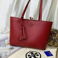 Beauty Ticks Tb Tory Burch Women's Leather Handbag Tote Bag #4637