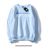New Balance Newest Casual Print Long Sleeve Warm Velvet Sweater Sweatshirt Blue