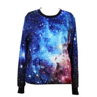 2015 New Galaxy Women Hoodies Space Digital Print Sweatshirt Harajuku Pullovers Tops (Color: Blue) = 1932084996
