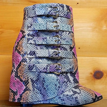 """High Life Multi Snake Fold-over Ankle Boot - 4"""" Wedge Heel Shoe"""