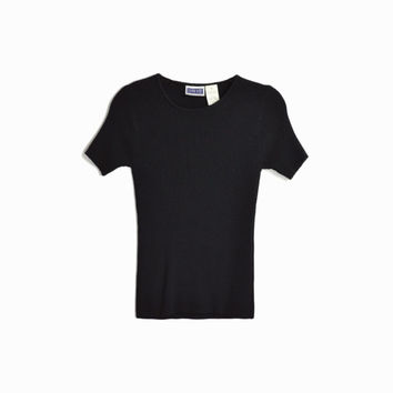 Vintage 90s Ribbed Black Tee/ 90s Short Sleeve Tee - women's small