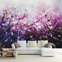 Painting 3D Wall Paper for Walls Art Purple Non-Woven Wallpapers Fantasy Cherry Blossom Mural Decorative Wallpapers Living Room