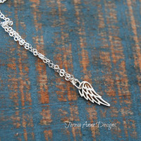 Tiny Angel Wing Necklace, Sterling Silver, Minimalist Jewelry, Angel Wing Jewelry, Long Necklace