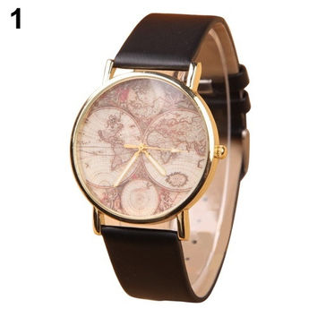 Women's Vogue Casual Retro World Map Watch Faux Leather Round Analog Quartz Wrist Watch (With Thanksgiving&Christmas Gift Box)= 1956798340