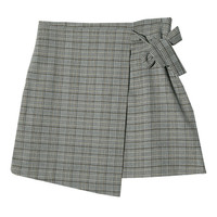 Houndstooth Check Faux Wrap Skirt | STYLENANDA