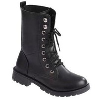 DCCK Black Lace Up Combat Boots
