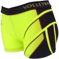 Printed Spandex Sport Shorts - Neon Yellow Volleyball