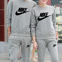 Nike Popular Women Men Loose Cotton Round Collar Simple Print Long Sleeve Two-Piece Sportswear Grey High Quality