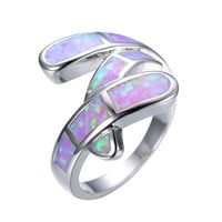 Size 6/7/8/9 Pink Opal 925 sterling silver ring Summer style fine jewelry engagement rings for women Whoseale/Retail RP0002
