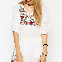 White Floral print V-Neck Dress