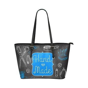 Tote Bags, Black and Blue Handmade Seamstress Style Leather Bag