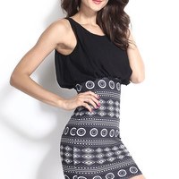 Black Chiffon Seeveless Mini Dress with Aztec Printed Skirt