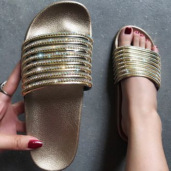 New women's shiny flashing diamond sandals casual one-word women's sandals shoes