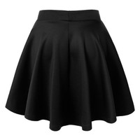Womens Basic Versatile Stretchy Flared Skater Skirt L BLACK