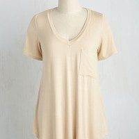 Yours Chill the End Top in Biscuit | Mod Retro Vintage Short Sleeve Shirts | ModCloth.com