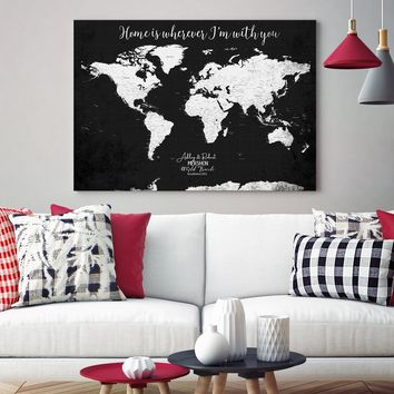 Personalized World Map Push Pin Wall Art