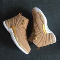 "Air Jordan 12 ""Wheat"" Men Women Basketball Sneaker Shoes"