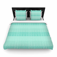 """Holly Helgeson """"Mod Grass"""" Teal Lines Woven Duvet Cover"""