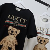 GUCCI 2020 new cartoon heavy industry beaded bear logo round neck half sleeve T-shirt