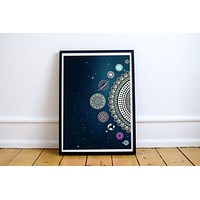 Planets Dark Blue Poster Bohemian Art Print Poster With Mandala Galaxy Design no frame 20x30 Large
