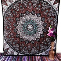 Tapestry Mandala Throw Psychedelic Star Indian Handmade