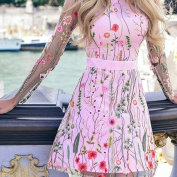 New Pink Floral Embroidery Print Sweet Party Mini Dress