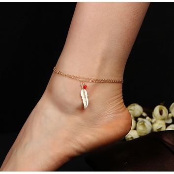 New fashion double female bracelet anklet ornaments beads beads feathers anklets