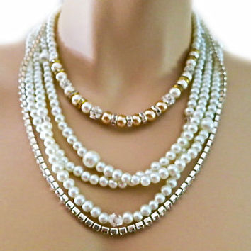 Pearl Wedding Necklace, Champagne Pearls Chunky Necklace with Crystal and Rhinestone, Gold Silver Wedding Layered Pearl Necklace