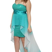 Dress with Sequin Bodice and Ombre High Low Hem