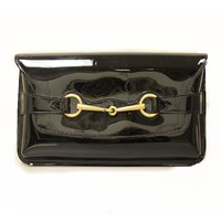 Gucci Women's Classic Horsebit Black Patent Leather Clutch Bag 317637