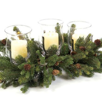 2 Pillar Candle Holders - Each Centerpiece Features (3)clear Glass Globe Hurricane Candle Holders