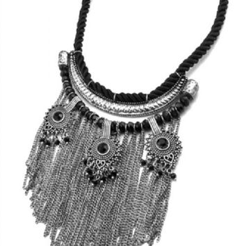 "16"" black rope 4.75"" tassel fringe boho choker collar bib necklace earrings"