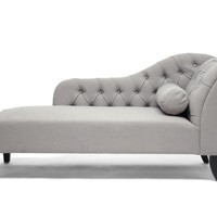 Baxton Studio Aphrodite Tufted Putty Gray Linen Modern Chaise Lounge Set of 1
