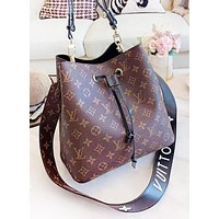 LV Louis Vuitton Fashion New Monogram Leather Shoulder Bag Women Bucket Bag