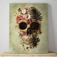 Garden Skull Canvas Print, Floral Skull Wall Art, Flower Skull Drawing Home Decor