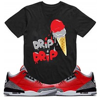 Drip Drip Jordan Retro 3 Red Cement Elephant Sneaker Match TShirt