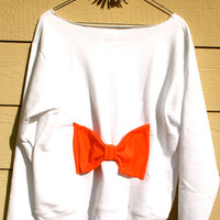 """The """"Big Bow"""" Off the Shoulder Sweatshirt - White Sweatshirt w/Coral Bow on Back"""