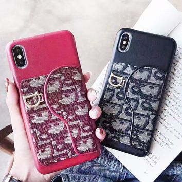 DIOR New fashion embroidery more letter leather protective cover phone case