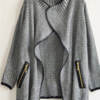 Gray Long Sleeve Knitted Cardigan