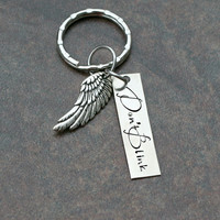 Don't Blink Keychain - Dr. Who Keychain - Weeping Angel Keychain - Angel Wing Keychain