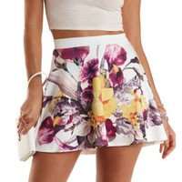 Floral Print Skater Skirt by Charlotte Russe - Purple Combo