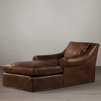 Belgian Roll Arm Leather Chaise