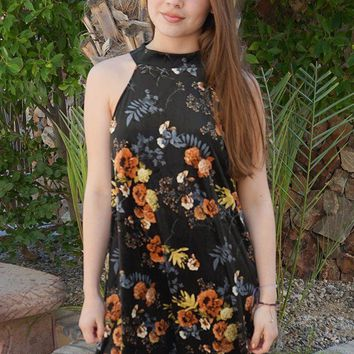 Get Romantic Dark Olive Velvet Floral Print Halter Shift Dress
