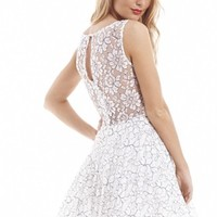 Contrast Thread Lace Kick Out Skater Dress