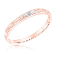 Engraved Accent Diamond Rose Gold Stackable Ring