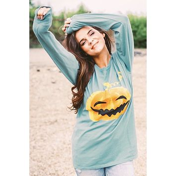 Pumpkin Long Sleeve Tee - Green