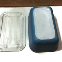 Small blue PYREX, casserole/loaf dish with lid, 1960s vintage
