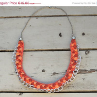 BLACK FRIDAY SALE Orange Braided Fabric necklace, fabric braided jewelry, Tribal Choker, Orange accessories , Eco-friendly gift for her,